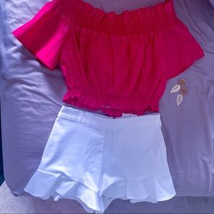 Zara off the shoulder fuchsia crop top nwt